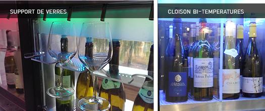 machine de vin au verre cloison bi-temperatures et support de verres